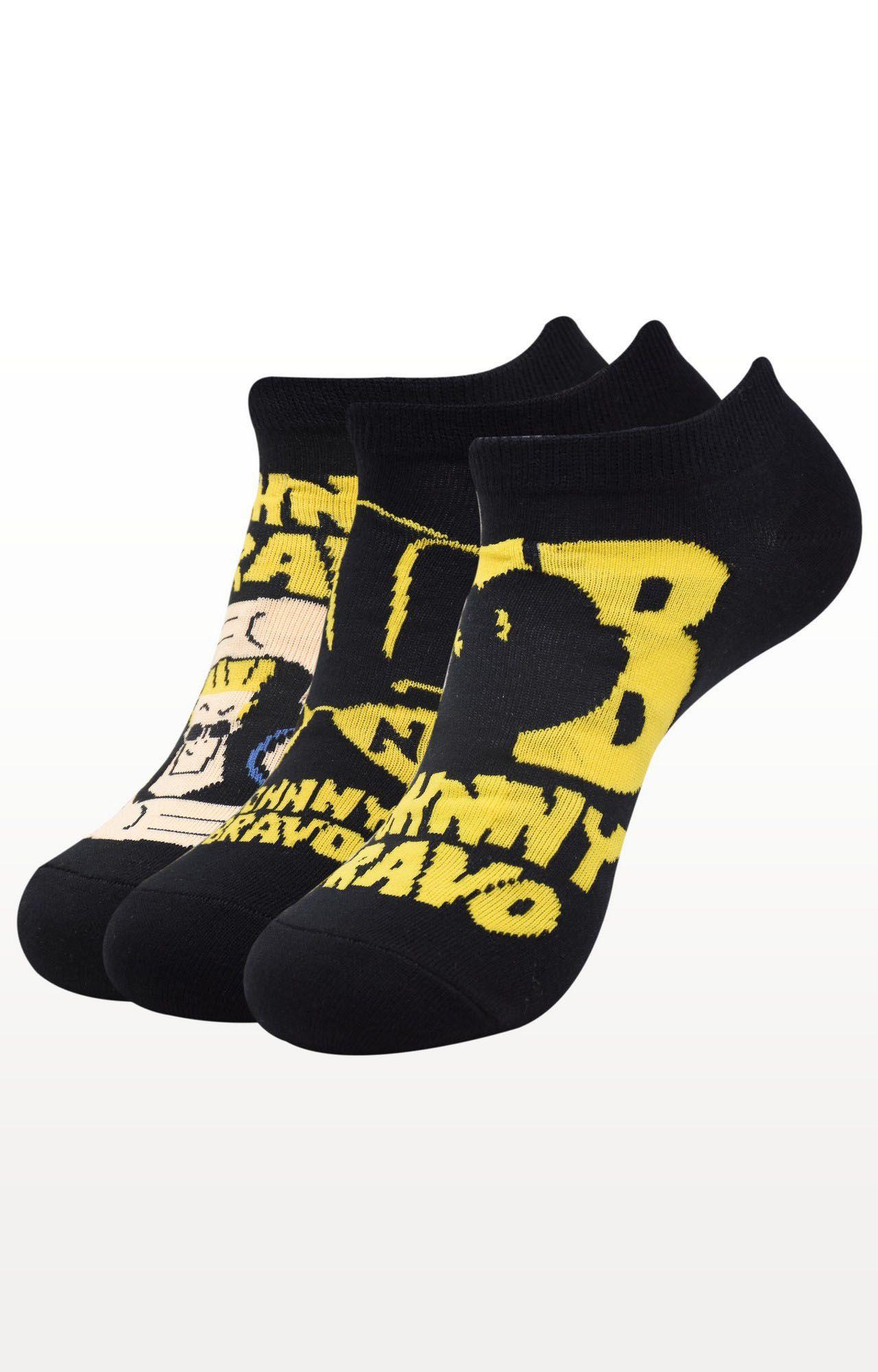 BALENZIA   Black Printed Socks - Pack of 3