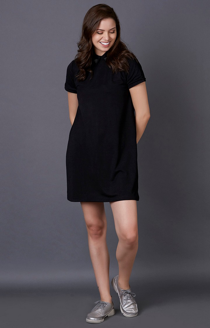MARCA DISATI   Black Solid Shift Dress