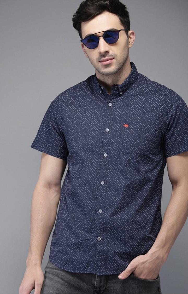 The Bear House | Blue Printed Casual Shirt