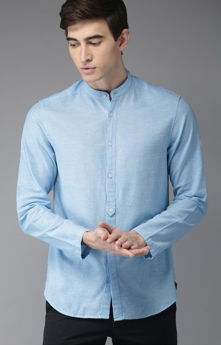 The Bear House | Blue Melange Casual Shirt