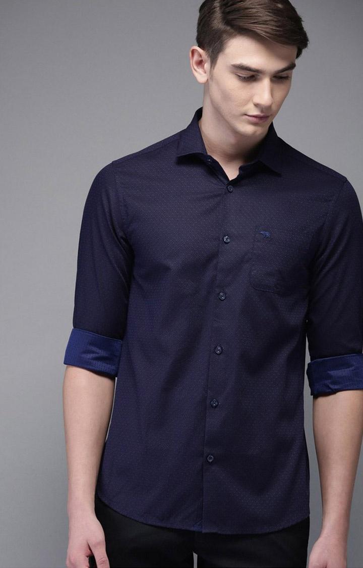 The Bear House | Blue Printed Formal Shirt