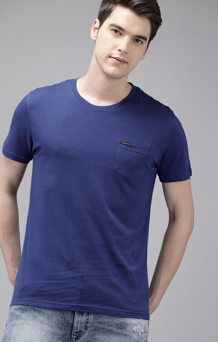 The Bear House   Blue Solid T-Shirt