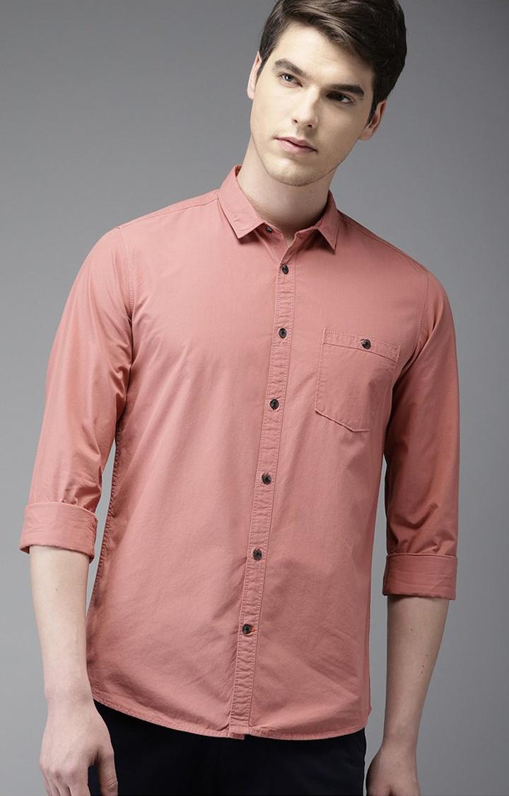 The Bear House   Peach Solid Casual Shirt