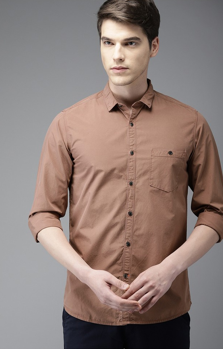 The Bear House | Brown Solid Casual Shirt