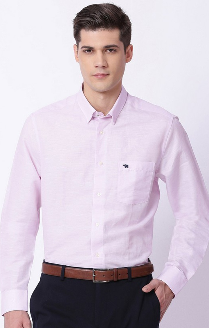 The Bear House | Pink Solid Formal Shirt