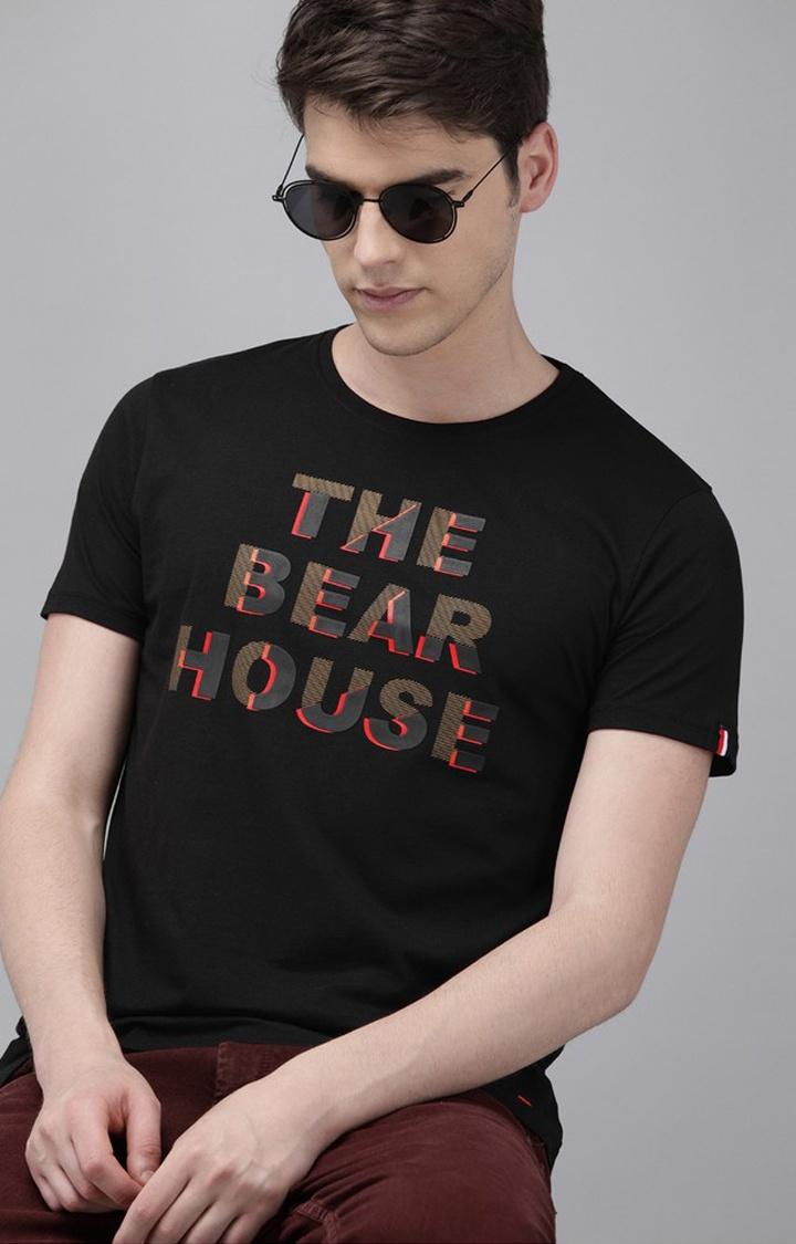 The Bear House | Black Printed T-Shirt