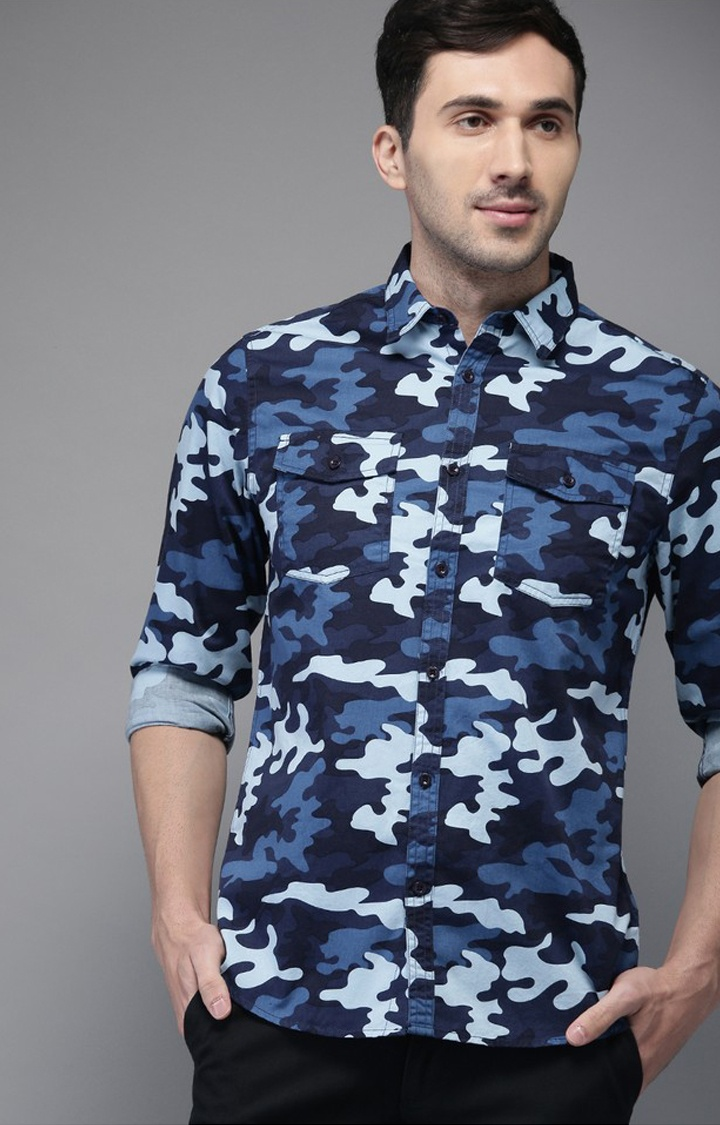 The Bear House | Blue Camouflage Casual Shirt