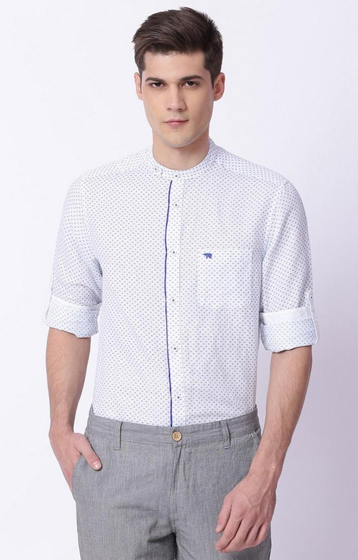 The Bear House | White Printed Formal Shirt