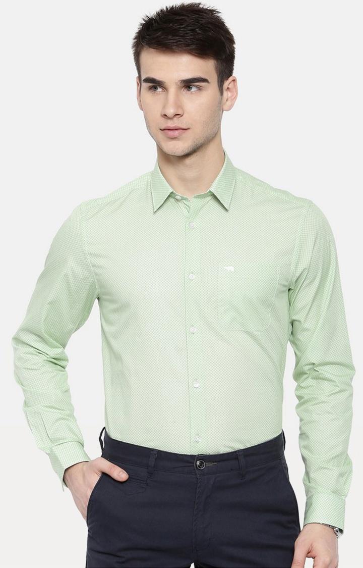 The Bear House | Green Printed Formal Shirt