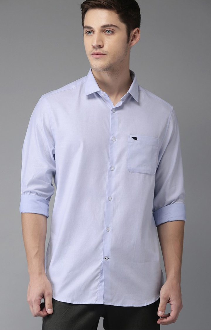 The Bear House   Blue Solid Formal Shirt