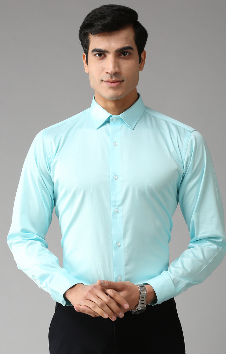Eppe   Sky Blue Solid Formal Shirt