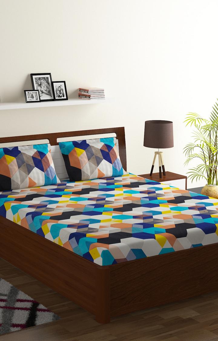 ISpace   IWS 144 TC Microfiber Double Geometric Bedsheet (Pack of 1, Multicolor)