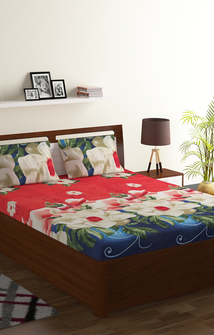 ISpace   IWS 144 TC Microfiber Double 3D Printed Bedsheet (Pack of 1, Multicolor)
