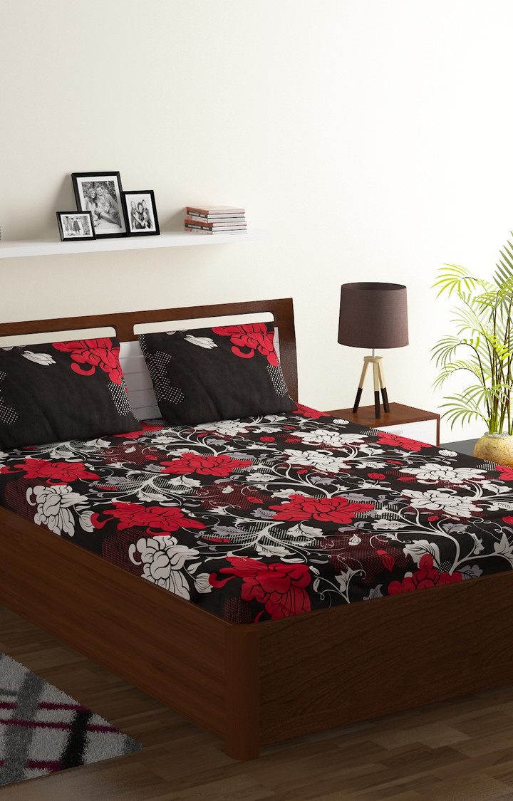 ISpace   IWS 144 TC Microfiber Double Floral Bedsheet (Pack of 1, Multicolor)
