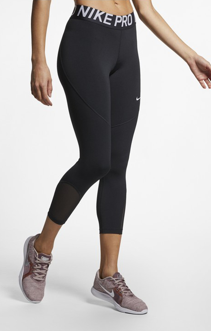 Nike   Nike Black Solid Np Crop Tights