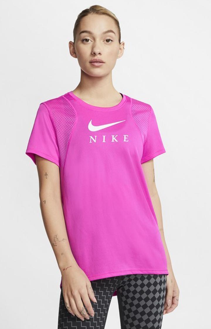 Nike | Nike Pink Solid Run Top Ss Gx T-Shirt