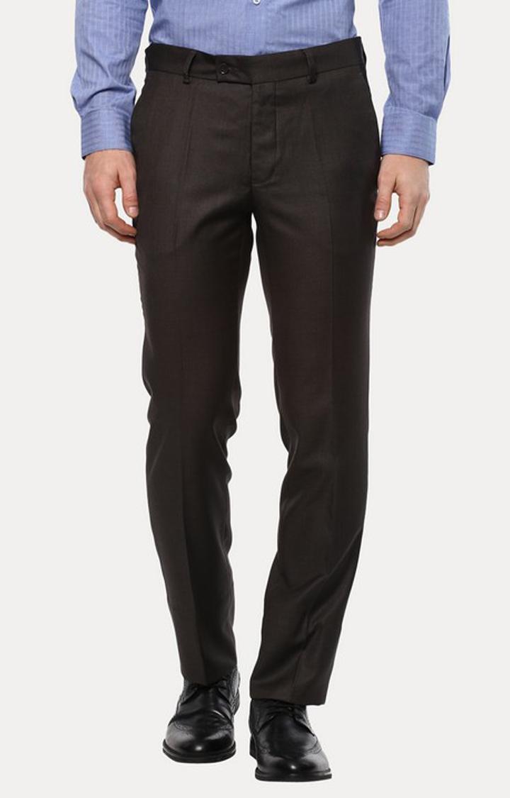 Turtle | Dark Grey Flat Front Formal Trousers