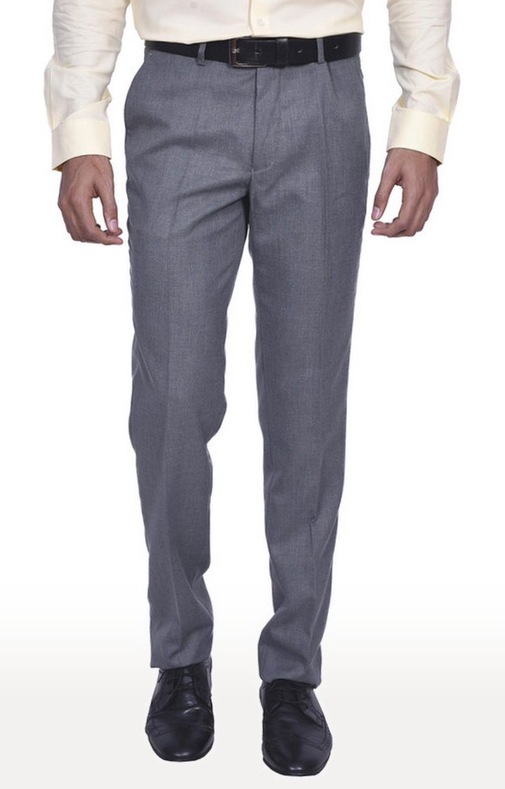 Turtle | Grey Flat Front Formal Trousers