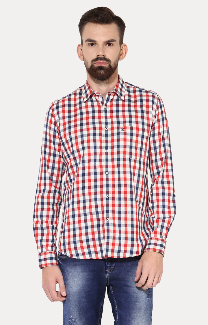 Turtle | White and Red Checked Casual Shirt