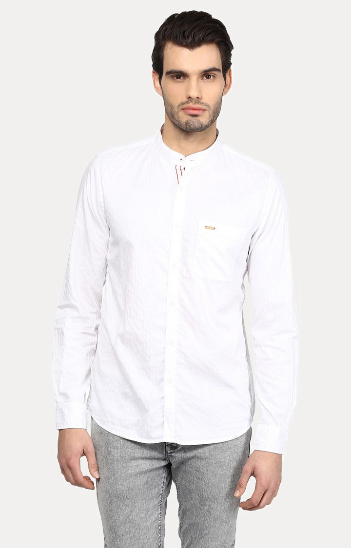 Turtle | White Solid Casual Shirt