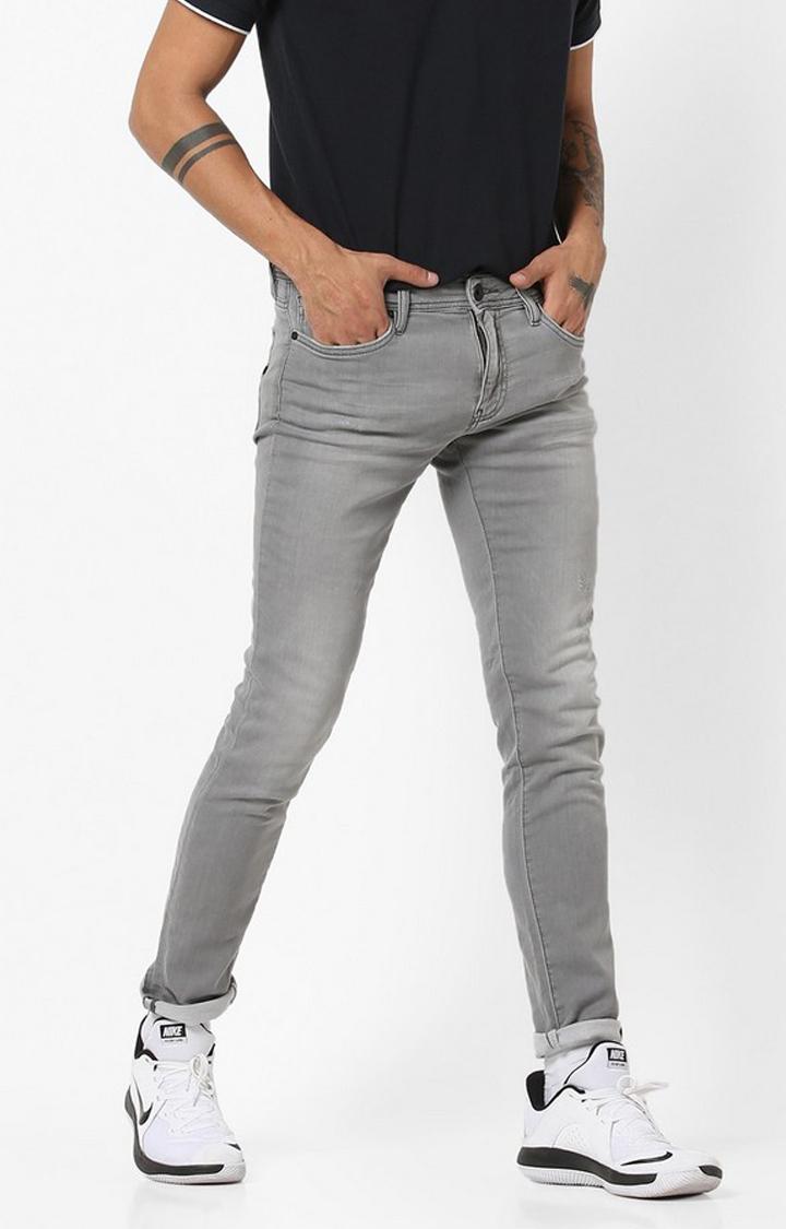 GAS   Lightly Distressed Grey Skinny Jeans
