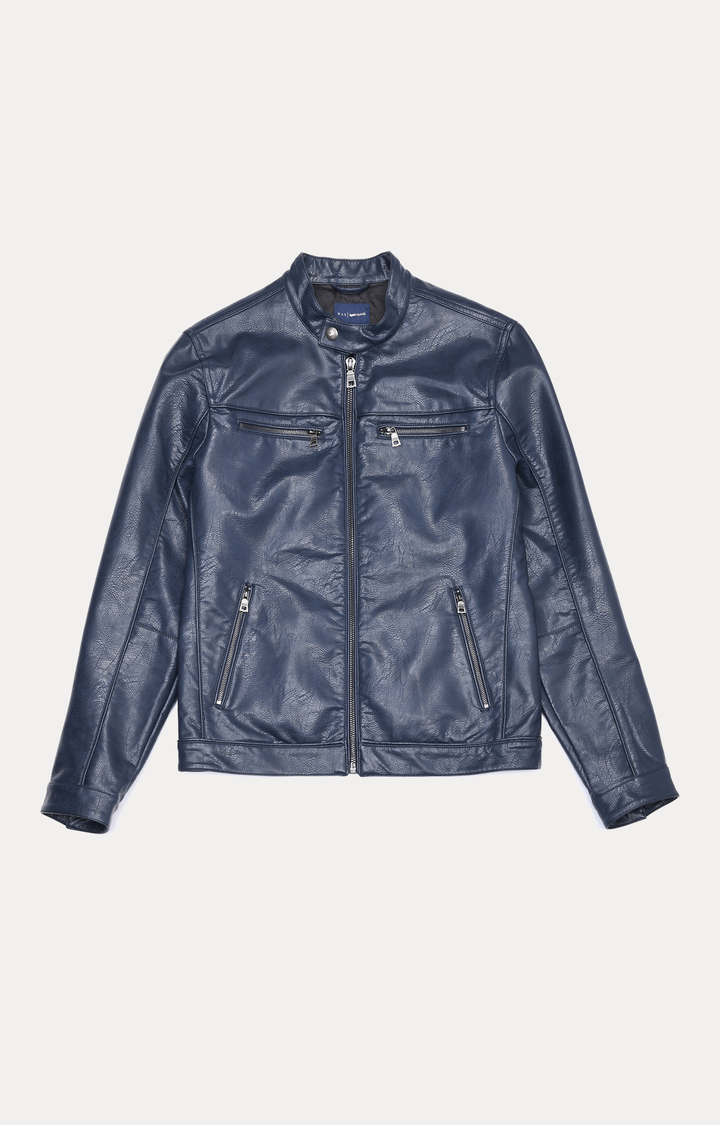 GAS | Navy Solid Leather Jacket
