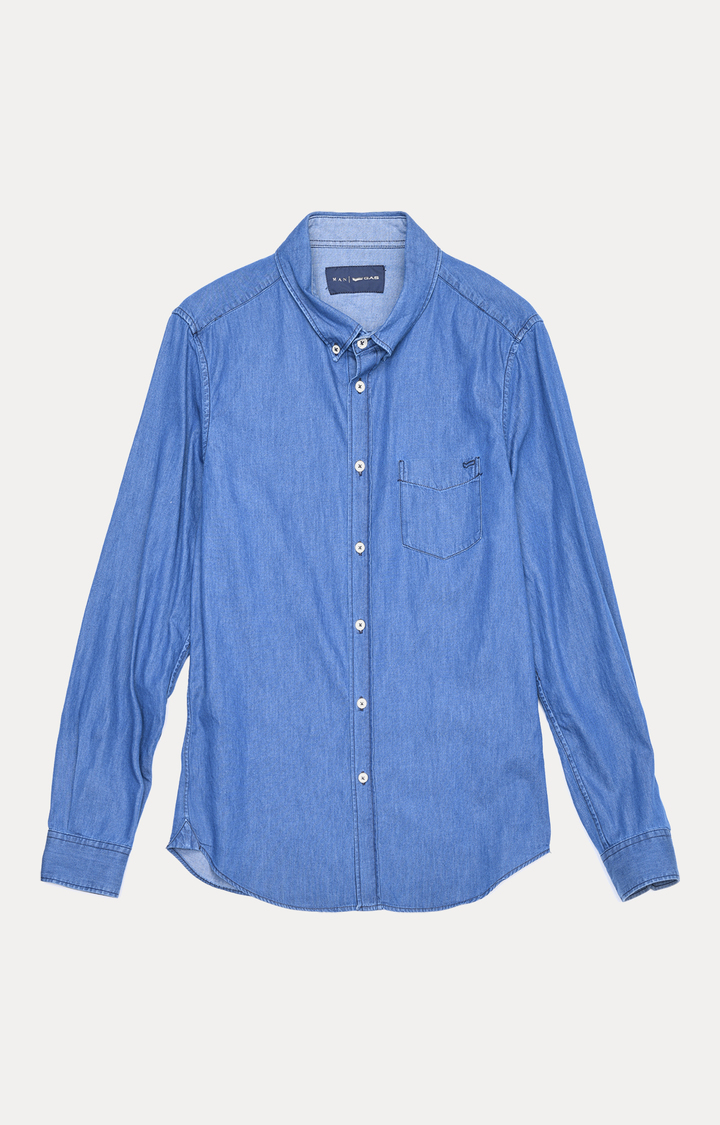 GAS   Blue Solid Casual Shirt