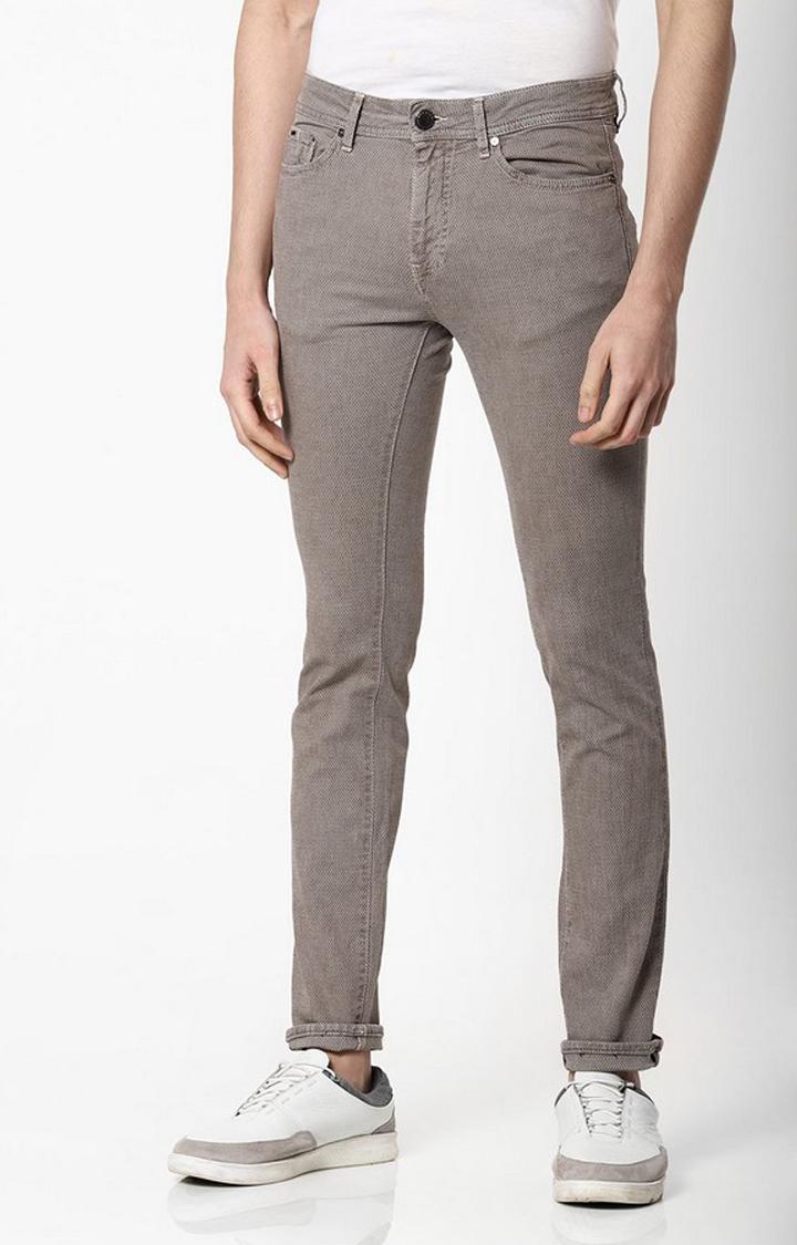GAS | Men's Beige Textured Slim Fit Jeans