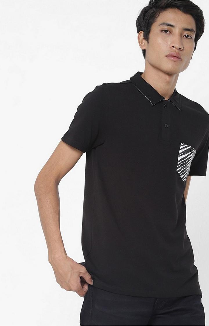 GAS   Yoyo/S Patch Pocket  Black Polo T-Shirt