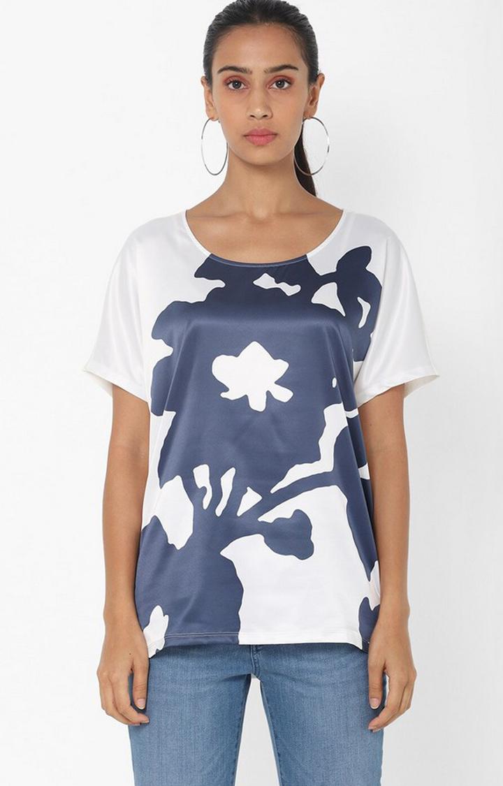 GAS | Regular Fit Round Neck Half Sleeves Printed Melyn Big Flower Top