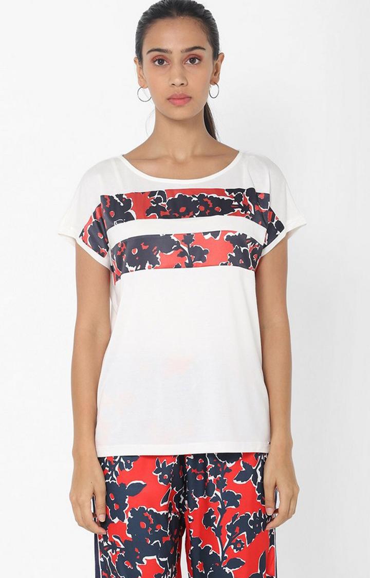 GAS | Regular Fit Round Neck Half Sleeves Printed Yaela Marine Flower Top