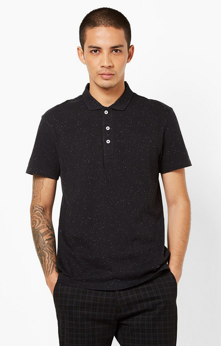 GAS   Speckled Slim Fit Polo T-shirt with Step Hem