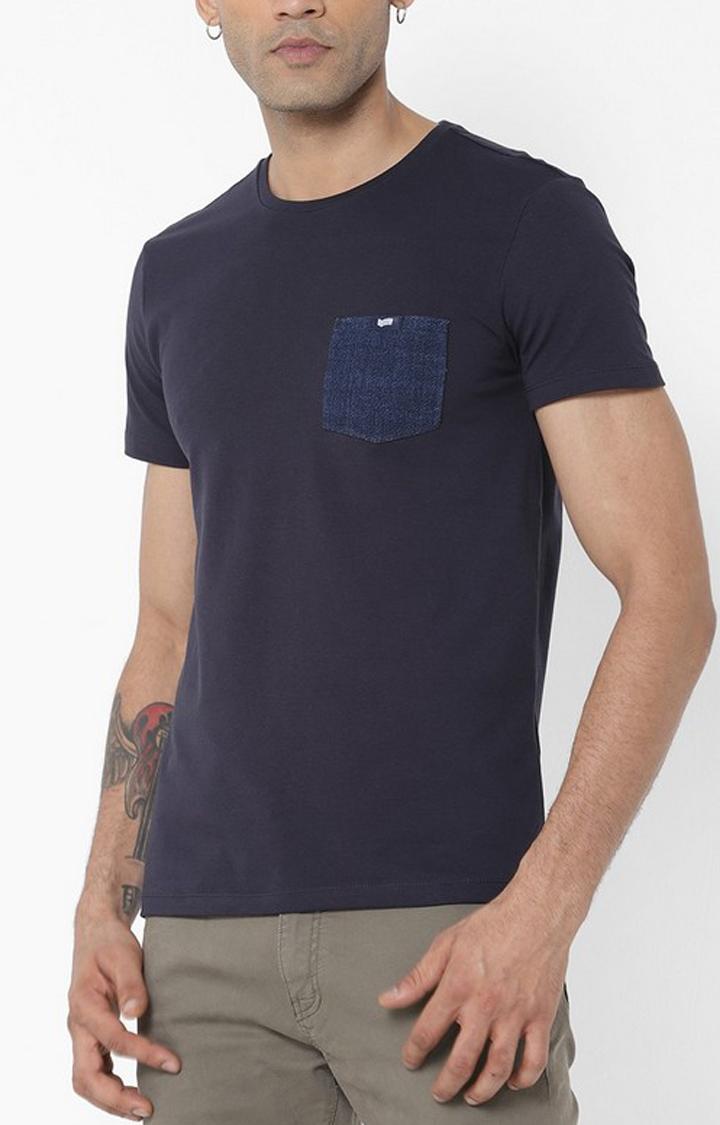 GAS   Scuba Patch Pocket Round Neck Blue T-Shirt