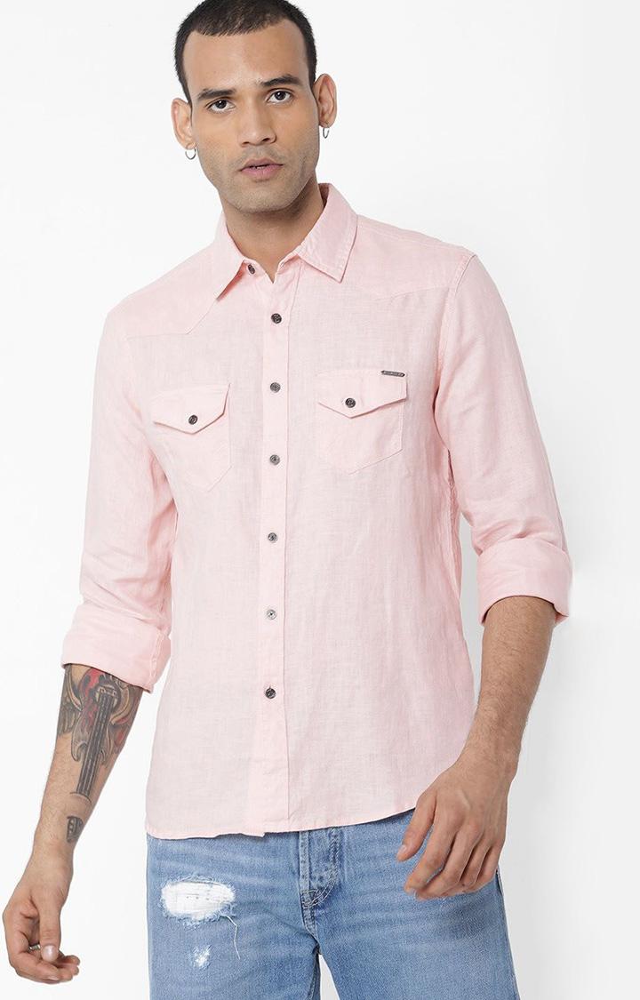 GAS   Men's Kant S/S pink linen shirt