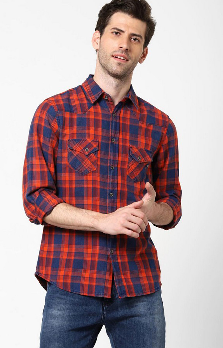 GAS | Men's Kant indigo red checks shirt