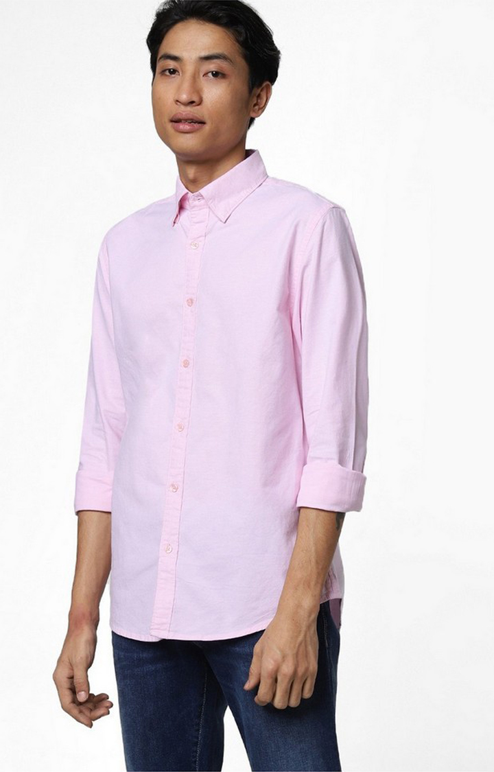 GAS   Men's Andrew mix solid pink shirt