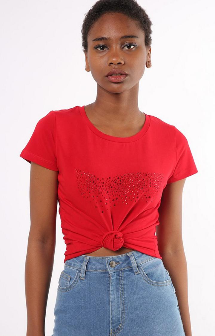GAS | Slim Fit Round Neck Half Sleeves Embellished Doll Logo T-Shirt