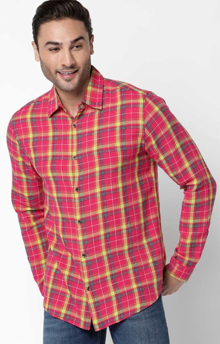 GAS   Men's Sir Det Pink Checked Slim Fit Shirt