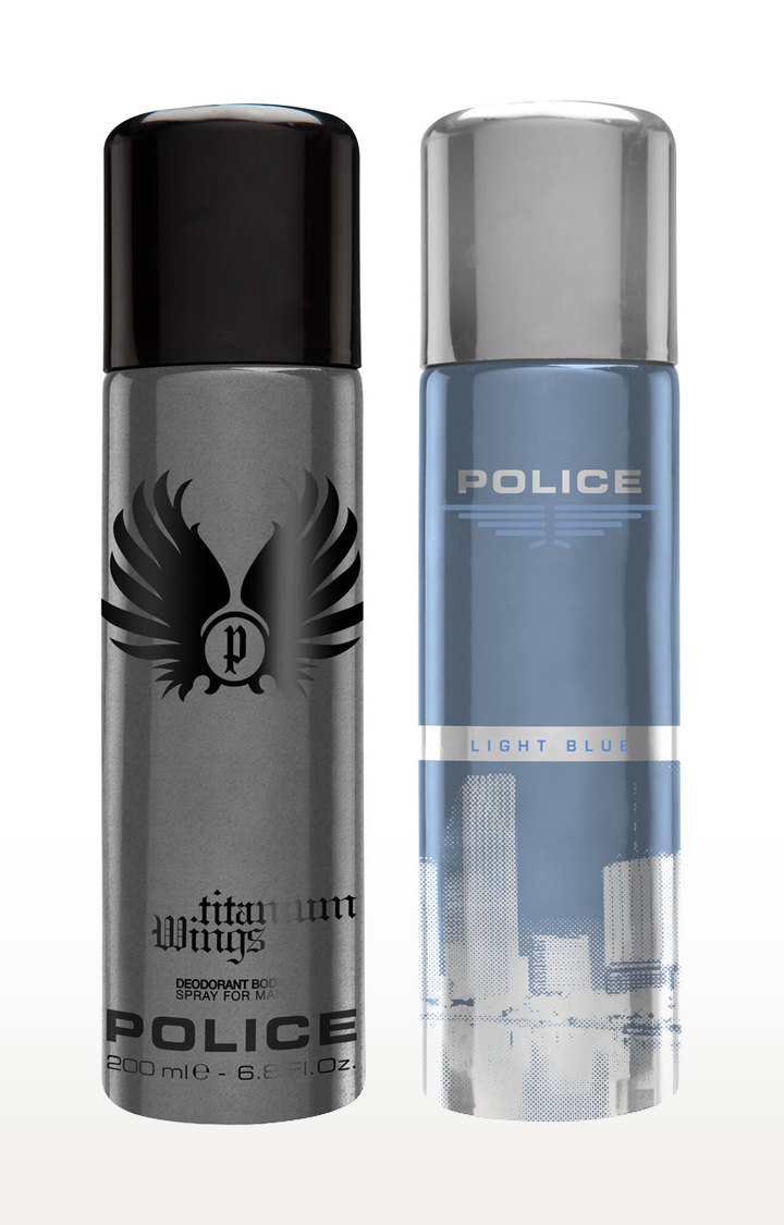 POLICE   Wings titanium and Lightblue Deo Combo Set - Pack of 2
