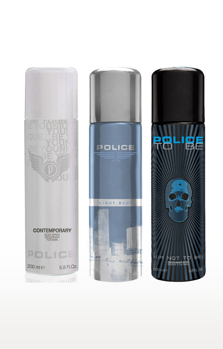 POLICE   Light blue and Contemporary and To be Deo Combo Set - Pack of 3