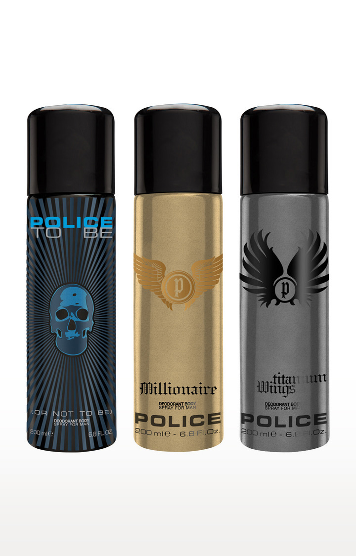 POLICE | To be and Millionaire and Wings titanium Deo Combo Set - Pack of 3