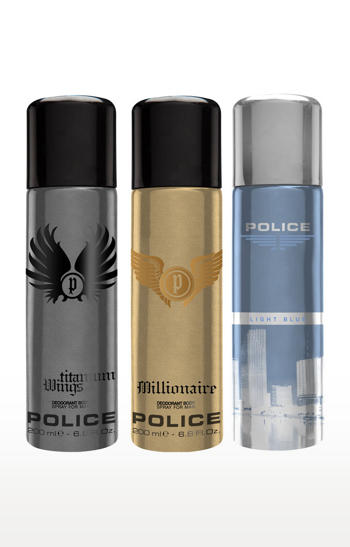 POLICE   Millionaire and Wings titanium and Light blue Deo Combo Set - Pack of 3