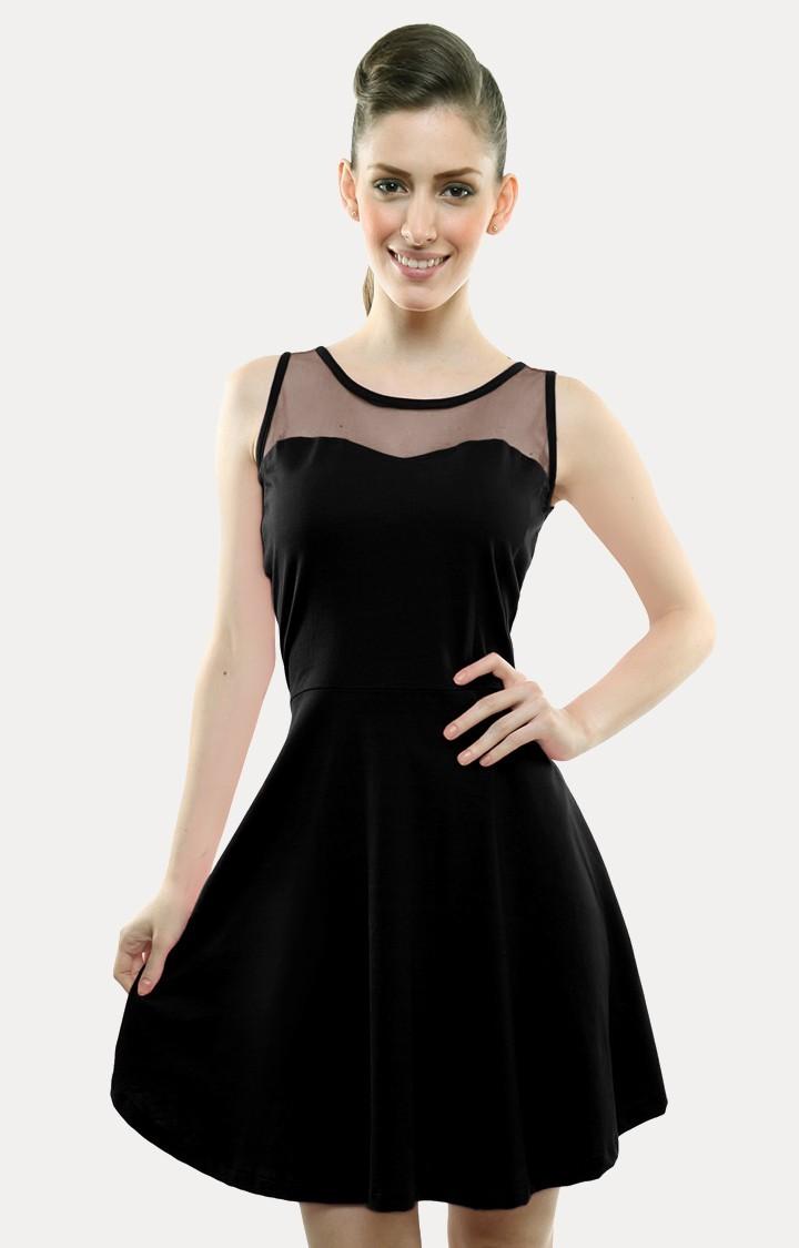 MISS CHASE | Black Skater Dress