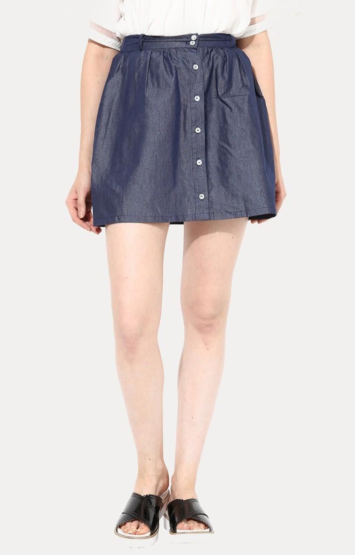 MISS CHASE | Blue Mini Skirt