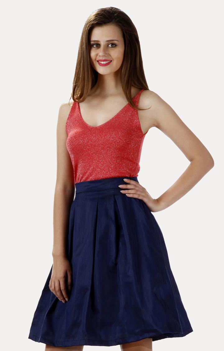 MISS CHASE   Navy Blue Mid Rise Solid Skater Skirt