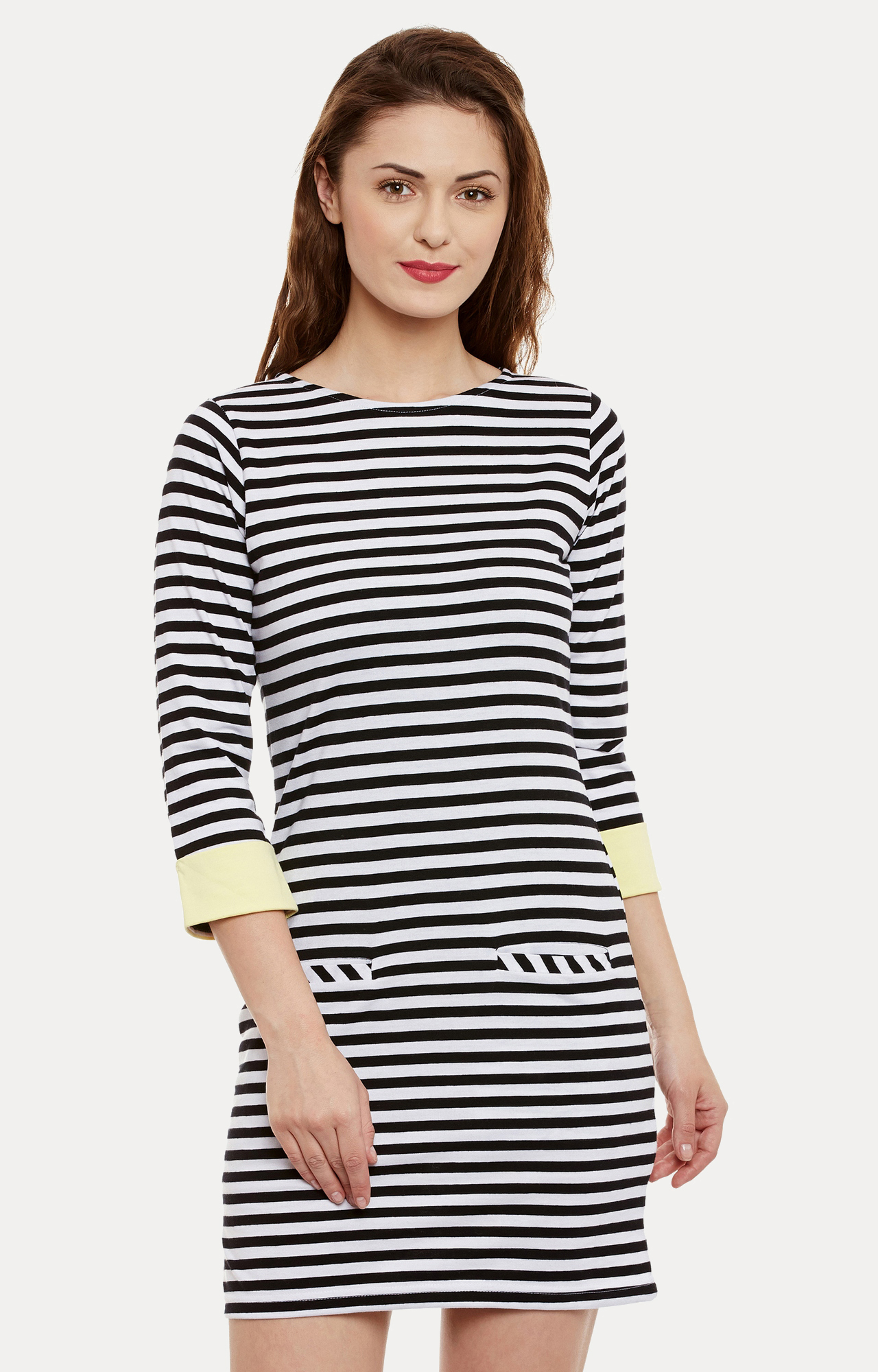 Black and White Striped Shift Dress