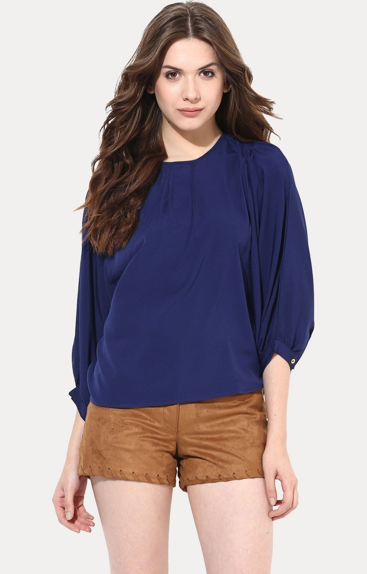 MISS CHASE   Dark Blue Oh So Effortless Top