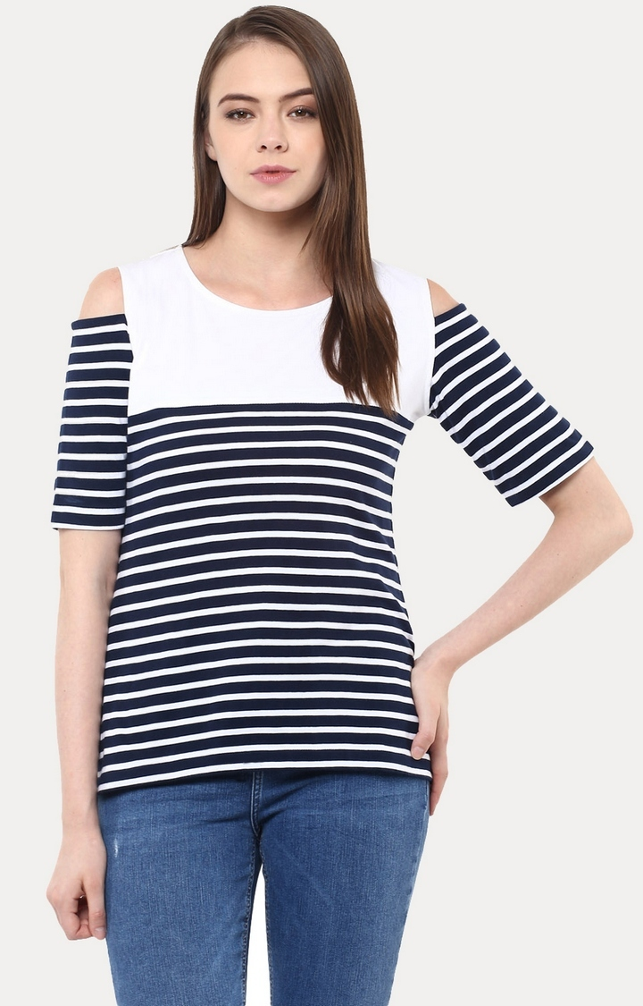 MISS CHASE   Dark Blue Take A Hint Striped Cold Shoulder Top