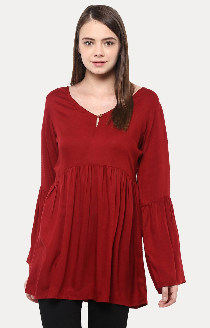 MISS CHASE   Maroon Flow Along Gathered Bell Sleeve Top