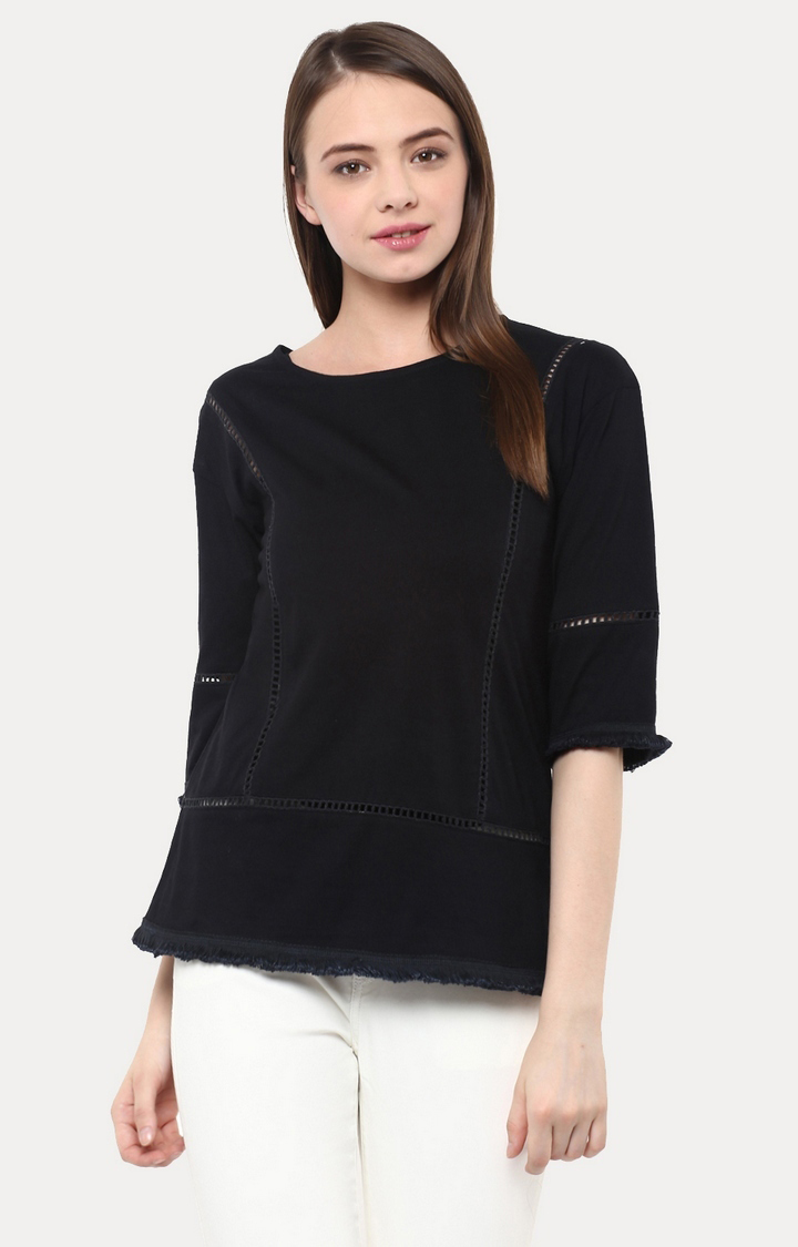 MISS CHASE | Black Panelled Top